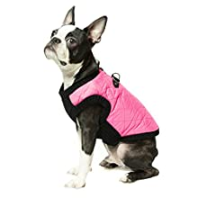 Gooby Fashion Quilted Bomber Dog Vest with Stretchable Chest, Pink, Small