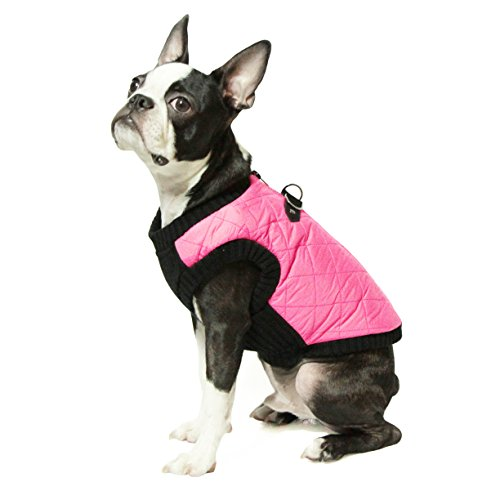 Gooby - Fashion Vest, Small Dog Sweater Bomber Jacket Coat with Stretchable Chest, Pink, Medium - Katie Long Jacket