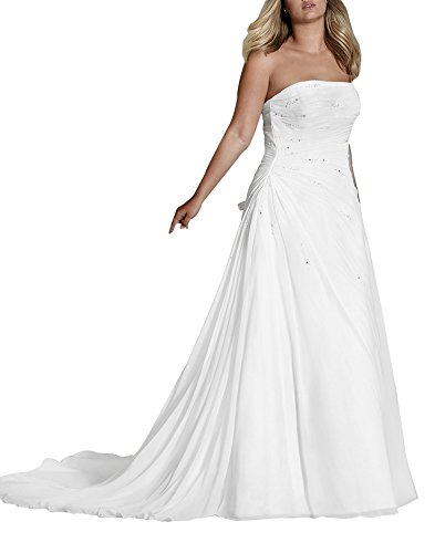 Women's Elegant A Line Strapless Lace Up Extra Large Wedding Dresses Bridal Gown White Size 16 by Zhongde