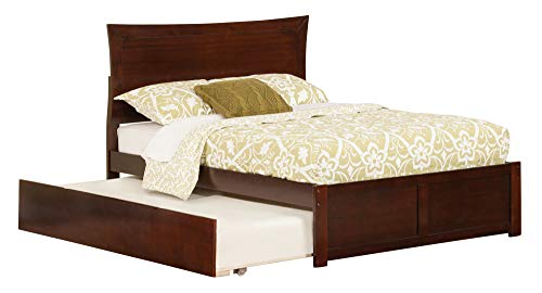 Metro Bed with Flat Panel Foot Board and Urban Trundle, Full, Antique Walnut
