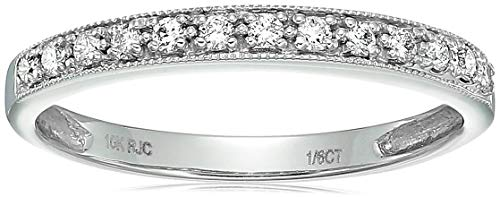 Vir Jewels 1/6 cttw Petite Diamond Wedding Band in 10K White Gold In Size 7