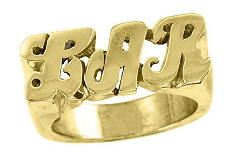 Rylos Personalized Initial Ring - Name Ring Unisex Script Style 6mm 14K Yellow or 14K White Gold. Special Order, Made to Order.