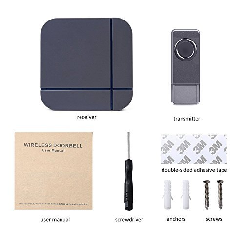 Wirelesss Doorbell Grey, Plug in Waterproof Doorbell Kit, Best Cordless Door Chime With 1000 feet / 300m Range, 52 Chimes, IP65 Waterproof Button, 4-Level Volume & Blue LED Light, Fashion Electric Doorbell Appropriate for Home, Office - Top