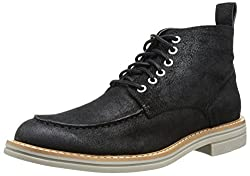 CK Jeans Men's Espen Coated Suede Chukka Boot, Black, 8 M US
