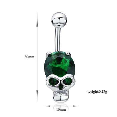 Fashion Cool Gold Ruby Zircon Cz Diamond Skeleton Skull Sex Body Piercings Navel Belly Ring Piercing Women Ombligo