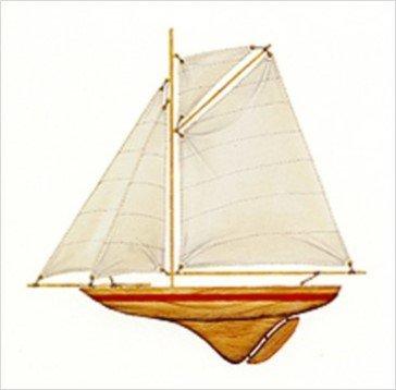 Buyartforless Red Pond Yacht by Karyn Frances Gray 12x12 Art Print Poster Wooden Sailboat White Sail (Pond Sailboat)