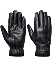 Men's Winter Gloves -Hlinker Faux Leather Touchscreen Casual Outdoor Gloves with Soft Warm Thermal Lining for Dress Driving