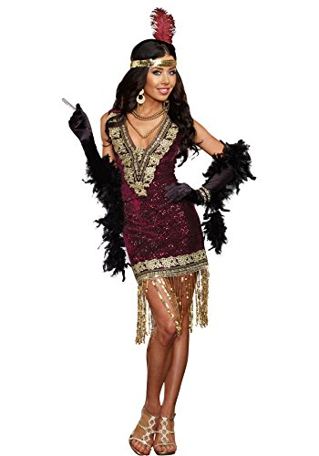 Dreamgirl Women's Sophisticated Lady 1920s Flapper Party Costume, Burgundy, X-Large