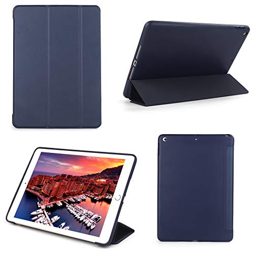 Bear Motion Silicon Case for New iPad 9.7 2018/2017 with TPU Front Cover Stand Support Auto Sleep Function (New iPad 9.7 2018, Blue)