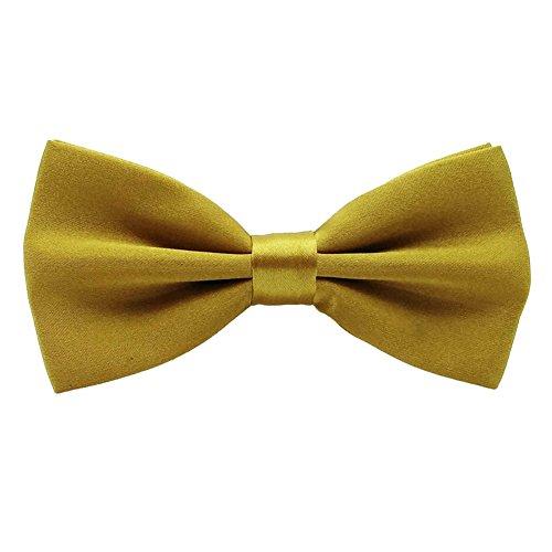 Startby Mens Shiny Adjustable Neck Solid Bow Ties Pre Tied (Dark - Shiny Gold