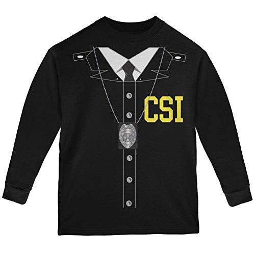 Halloween Crime Scene Investigator Costume Black Youth Long Sleeve T-Shirt - Youth X-Large ()