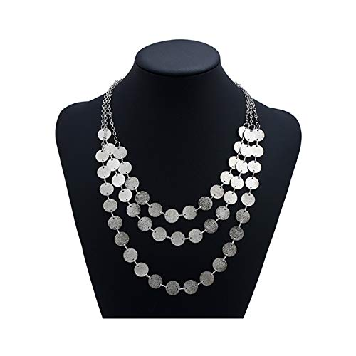 Spiritlele 3 Layers Sequins Disc Choker Coins Chunky Statement Necklace For Women Silver