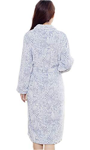 De Lujo Cuello Franela Ocio Bata Moda Collar Bañarse Marca Suave Blanco Mode Vestido Impreso Albornoz Cálido Adulto Pijama Baño Hombres Señoras d5qAw7d