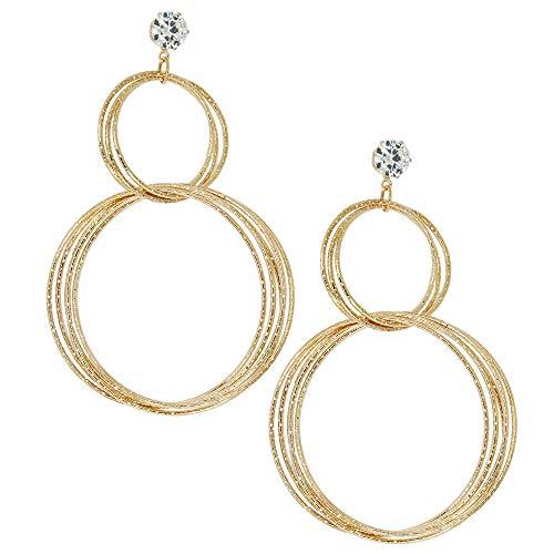 Stainless Steel Key Dangle Ring - Multi-Rings Drop Earrings Threader Dangle Hoop Earrings for Women Girls Twisted Round Dangle Wire Rings Earrings Cubic Zirconia Stud Plated Stainless Steel Jewelry Hanging Metal Dangle Earring