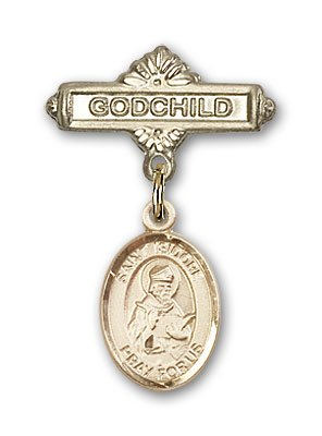 Religious Obsession Gold Filled Baby Badge with St. Isidore of Seville Charm and Godchild Badge Pin