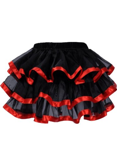 Plus Size Classic Beauty Costumes (Yummy Bee Womens Frilly Tulle Tutu Skirt Burlesque Costume Plus Size 18 - 20, Red)