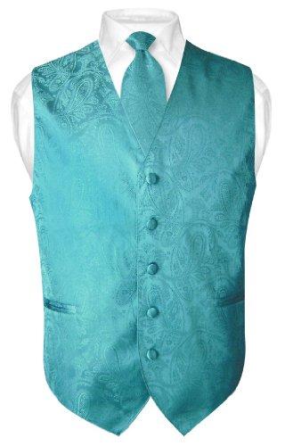 (Vesuvio Napoli Men's Paisley Design Dress Vest & Necktie Turquoise Aqua Blue Neck Tie Set sz XL)