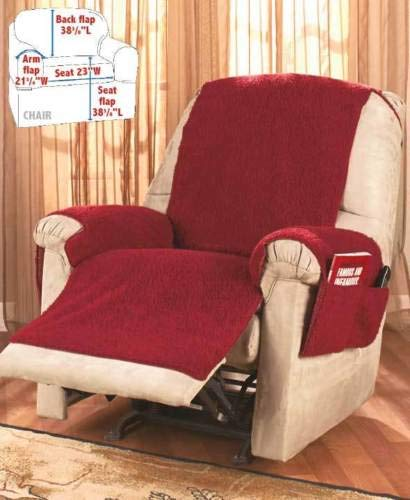 Moon_Daughter Burgundy Color Comfortable Fleece Recliner Armchair Chair Cover Storage with 4 Pockets Book Glasses Protector
