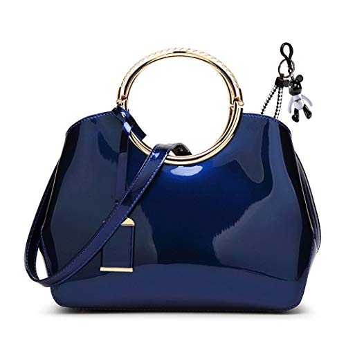 DEERWORD Women's Hobos Shoulder Bags Totes Satchels Top-Handle Handbags PU Leather Convertible Royalblue ()
