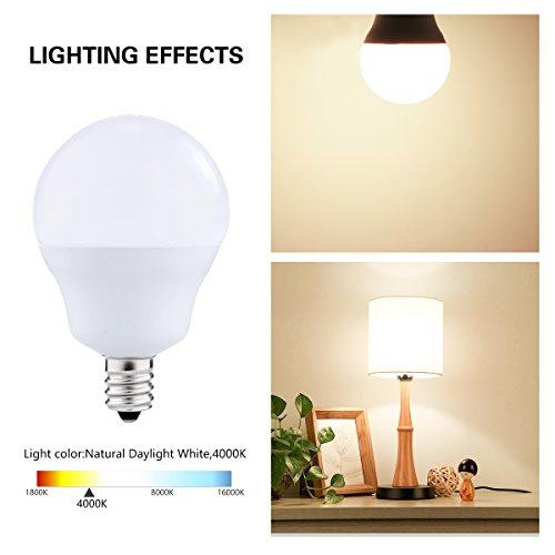 LED Light Bulbs Candelabra Base 40W Equivalent, JandCase 5W, 450lm, Natural Daylight White 4000K, G14 LED Globe Bulbs for Ceiling Fan, Vanity Mirror Light, E12 Base, 6 Pack by JandCase (Image #4)