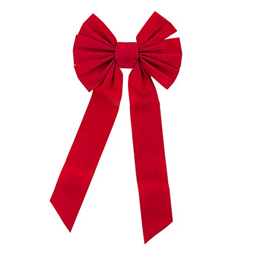 (Red Velvet 7 Loop Bow for Wreath Decorations, Gifts & Presents Wrapping, Hanging Door Decor with Wire, Christmas Party Supply (10