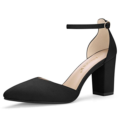 Allegra K Women's Point Toe Chunky High Heel Ankle Strap Pumps (Size US 7.5) (Ankle Strap Pointed Toe Pumps)