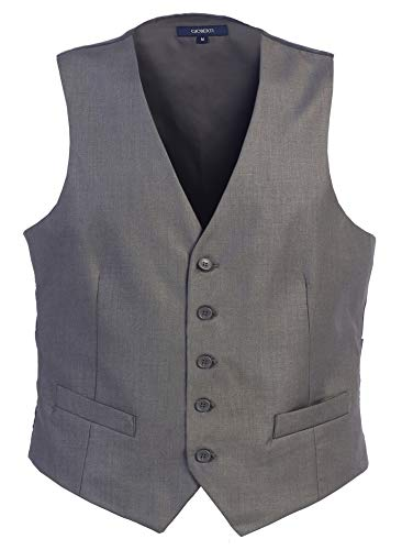 Gioberti Mens 5 Button Formal Suit Vest, Gray, Large