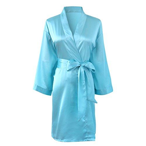 - SheSmile Women Sexy Robe Silk Kimono Bathrobe Solid Color Short Satin Dressing Gown