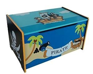 Pirate Themed Kids Childrens Wooden Toy Box Bench Storage