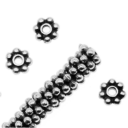 (Fine Silver Plated Lead-Free Pewter Daisy Spacer Beads 4mm (50))