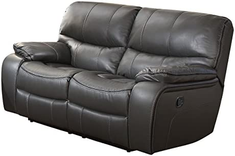 Homelegance Pecos Leather Gel Manual Double Reclining Love Seat, Gray