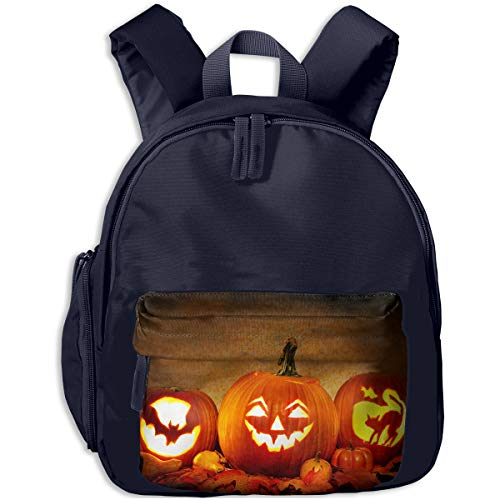 Jack O Lantern Carving Pumpkin Halloween Scary Ghost Children Backpack Pocket Zipper Outdoor Travel School Book Bag -