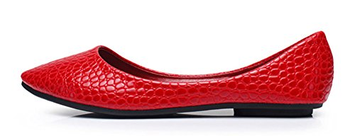 Pattern Slip Red Aisun Loafers Trendy Sexy Alligator Womens On wXRRxIqCZz