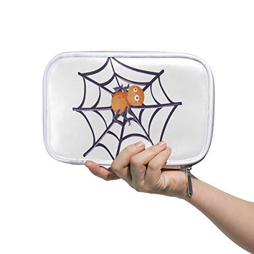 MONTOJ Halloween Spider Makeup Brush Bag Pencil Case with Zipper Closure Large Capacity Pen Organizer]()