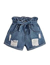 Milumia Pantalones Cortos de Vaquero para Mujer, Estilo Casual, Cintura Alta, con Bolsillos