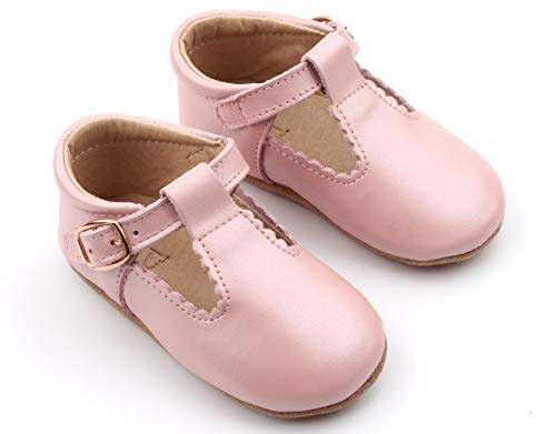 POSHBERRY Genuine Leather Baby Mary Jane Soft Sole Shoes | Girls T-Bar, T-Strap Shoes | Hand Crafted, Breathable, Soft, Durable, and Shoes (12-18 Months, Pearl Pink) ()
