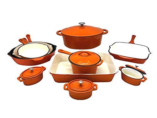 Le Chef 15 Piece Enamel Cast Iron Orange Cookware Set. on Sa
