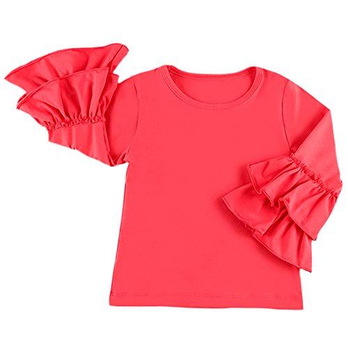 IBTOM CASTLE Little Girls' Long-Sleeve Icing Lotus Ruffle Cotton T-Shirt Cuff Undershirt School Tee Christmas Outfits Raglan Casual Blouse Red 5-6 Years (School Toddler Tee)