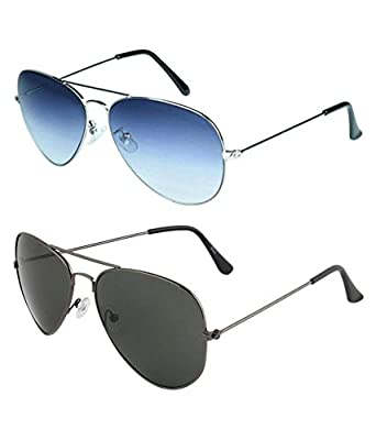 3c42bdf11c Sheomy Unisex Combo Pack of Silver Blue Avaitor Sunglasses and Black  Avaitor Sunglasses for Men and Women with 2 boxes Best Online Gifts   Amazon.in  ...