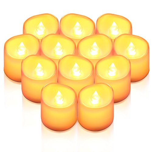 AMIR Flameless Candles, 12 PCS LED Tea Light Candles, Realistic Flickering Votive Candle Lights for Seasonal & Festival Celebration, Party & Wedding Decoration, Wave Open Battery Included (No -