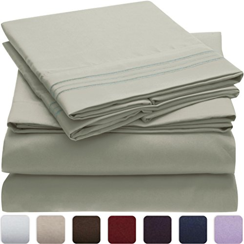 Mellanni Bed Sheet Set   HIGHEST QUALITY Brushed Microfiber 1800 Bedding    Wrinkle, Fade, Stain Resistant   Hypoallergenic   4 Piece (Cal King, Spa  Mint)