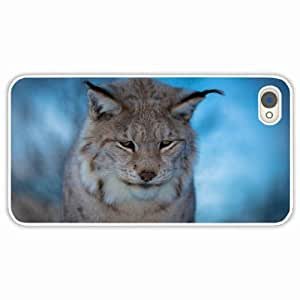 iPhone 4 4S Black Hardshell Case lynx muzzle sad background blur White Desin Images Protector Back Cover