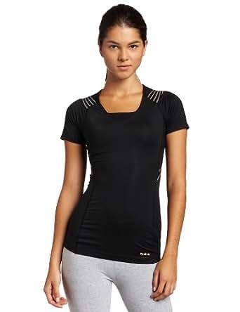 Reebok Women's Easytone Short Sleeve Top (Black, X-Small)