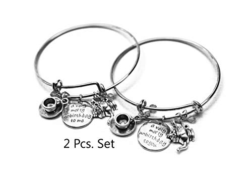 Alice in Wonderland Bangle 1 Set 2 pcs:A Very Merry Unbirthday Hand Stamped BBF Bracelet,Gifts for Friend Halloween -