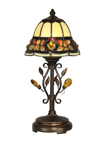 Diva At Home 15.25' Antique Golden Sand Pebble Stone Hand Crafted Glass Tiffany-Style Accent Lamp