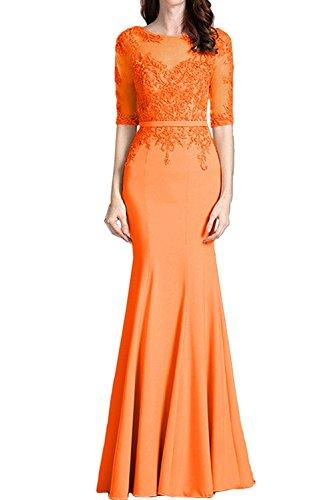 Abendkleider Weiss Damen Festlich Spitze Langarm mia Promkleider La Etuikleider Orange Langes Braut Partykleider wEqO6xvf1