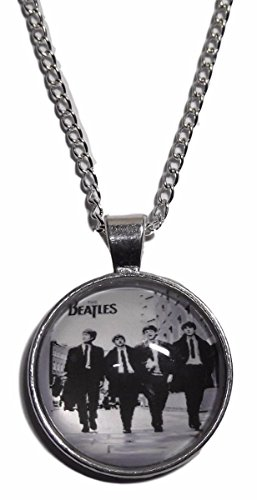 The Beatles Band Logo Glass Domed Pendant Necklace