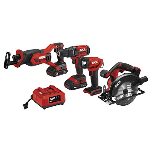 - SKIL 20V 4-Tool Combo Kit: 20V Cordless Drill Driver, Reciprocating Saw, Circular Saw and Spotlight, Includes Two 2.0Ah Lithium Batteries and One Charger - CB739701