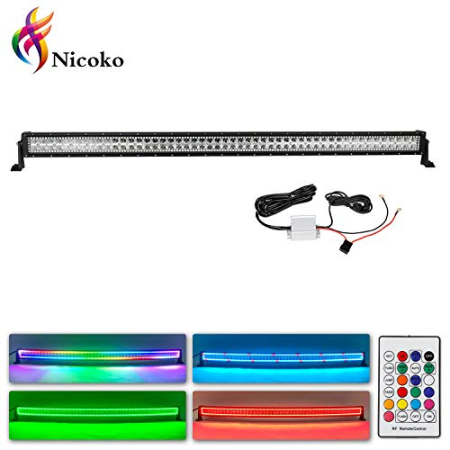 Nicoko Straight 50inch 288w offroad Led Work Light Bars installed Chasing RGB Halo Strip 10 solid color over 72 modes Driving outside Fog Lamp Lighting for Suv Ute Atv Truck 4x4 Boat+Free wireharness