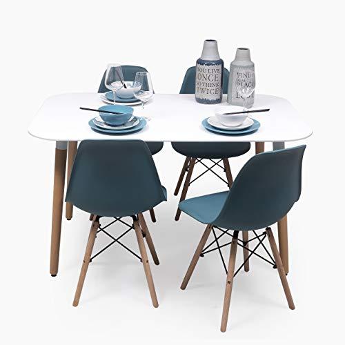 Conjunto de Comedor de diseno nordico NORDIK-MAX con Mesa lacada Blanca de 130x80 cm y 4 sillas (Turquesa)